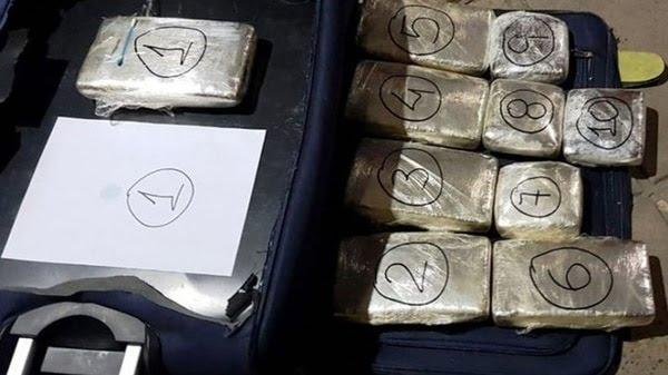 Stock narco de la Banda del Caribe, detenida en la terminal de Comodoro Rivadavia.