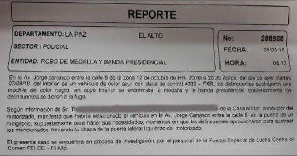 El reporte policial que detalla cómo fue el robo d ela banda presidencial y d ela medalla oficial de Bolivia (Gentileza: El Deber)