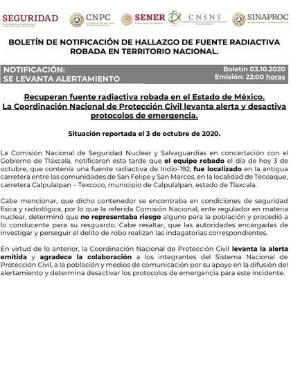 La Coordinación Nacional de Protección Cilvil, en coordinación con autoridades locales, levantó el alertamiento emitido por el robo de dicho contenedor (Foto: Twitter @LUISFELIPE_P)