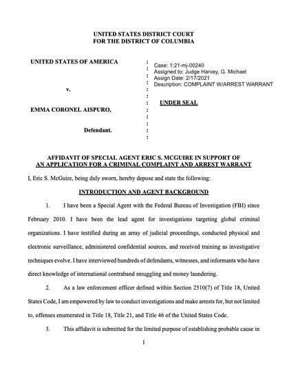 Primera página del documento presentado por el Departamento de Justicia de EEUU (Foto: justice.gov)