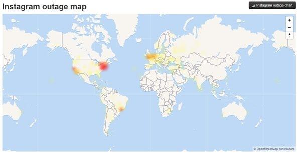 Usuarios afectados por problemas en Instagram, según reporta DownDetector.