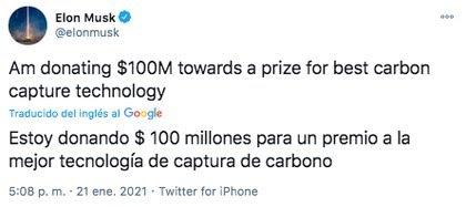 El empresario Elon Musk anunció su donación a través de su cuenta de Twitter (Foto: captura de pantalla)