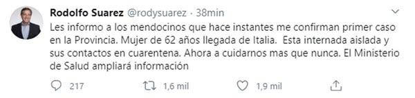 El tuit del gobernador de Mendoza sobre el primer caso en la provincia