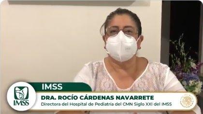 La doctora Rocío Cárdenas Navarrete respondió que su institución prioriza a los médicos de primera línea (Captura: Twitter @Tu_IMSS)