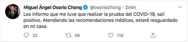 Twit Miguel Ángel Osorio Chong (Foto: Twitter@osoriochong)